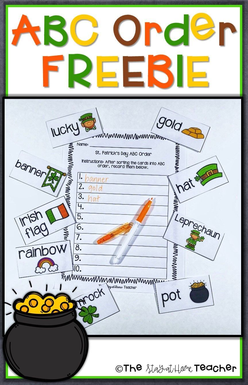 St Patrick S Day Abc Order Center And Worksheets Abc Order Phonics Lessons Writing Teaching Resources [ 1344 x 864 Pixel ]