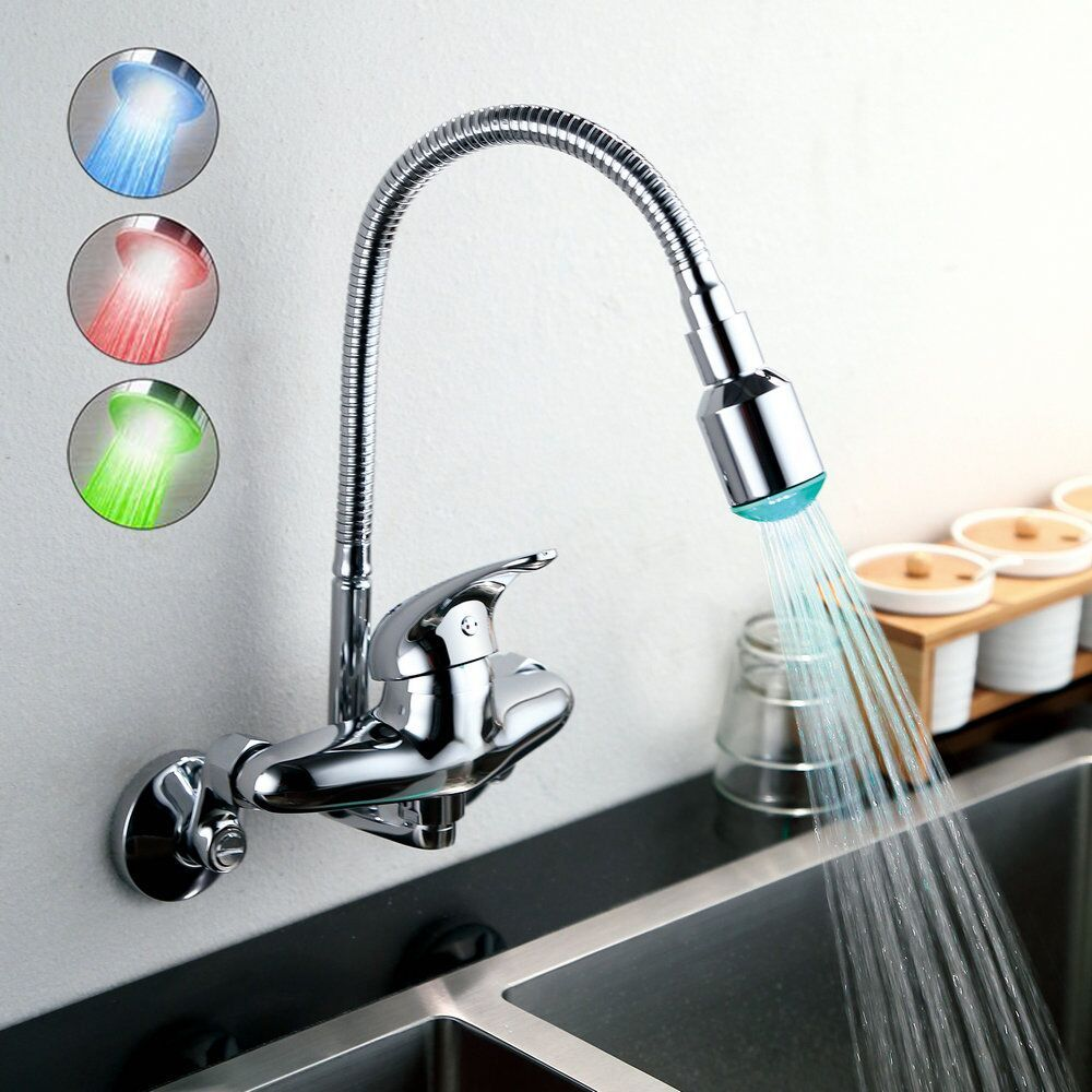 Wall Mount Sink Faucet Kitchen Mixer Tap With Swivel Nozzle Led
