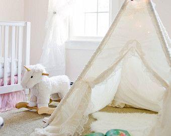 Ready to ship ivory kids teepee teepees tent by SugarShacksTeepee