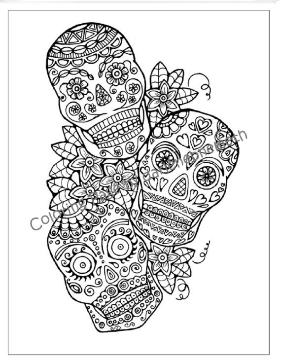Sugar Skull Coloring Page to Print and Color, Adult Coloring Page ...