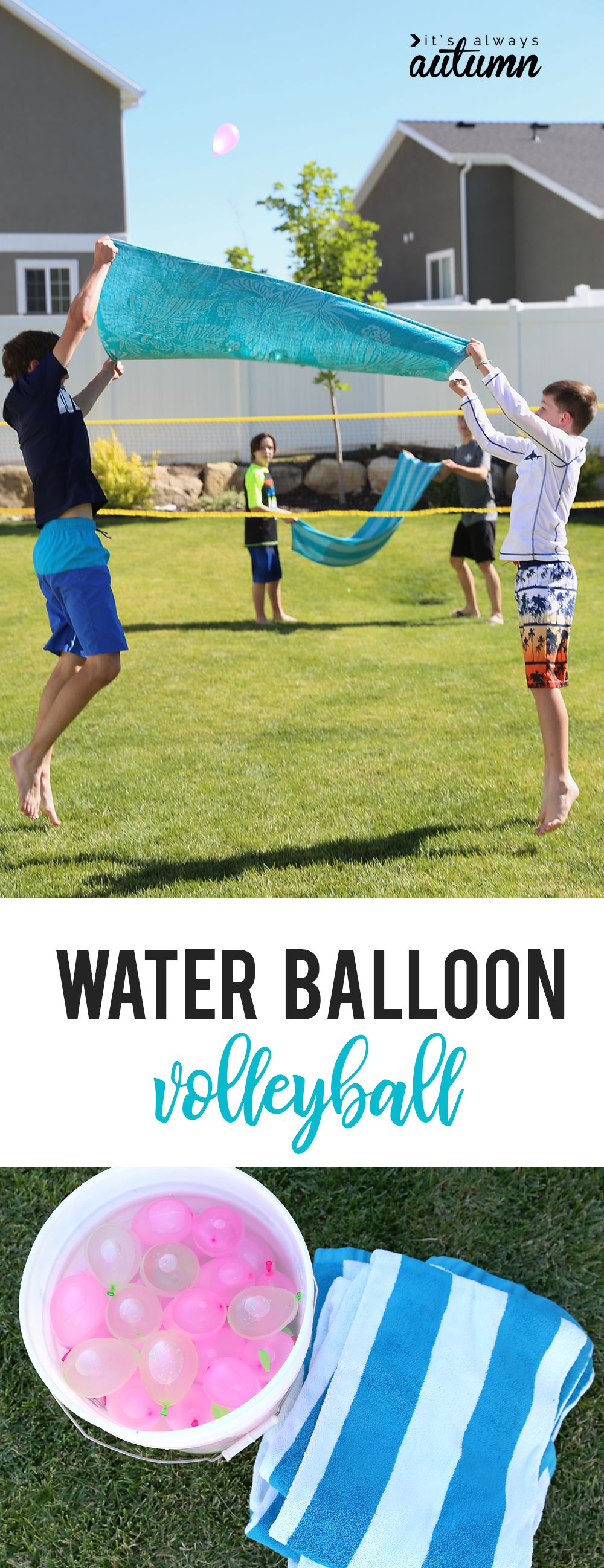 Water Balloon Volleyball Hilarious Summer Water Game It S Always Autumn In 2020 Group Games For Kids Water Games For Kids Youth Games
