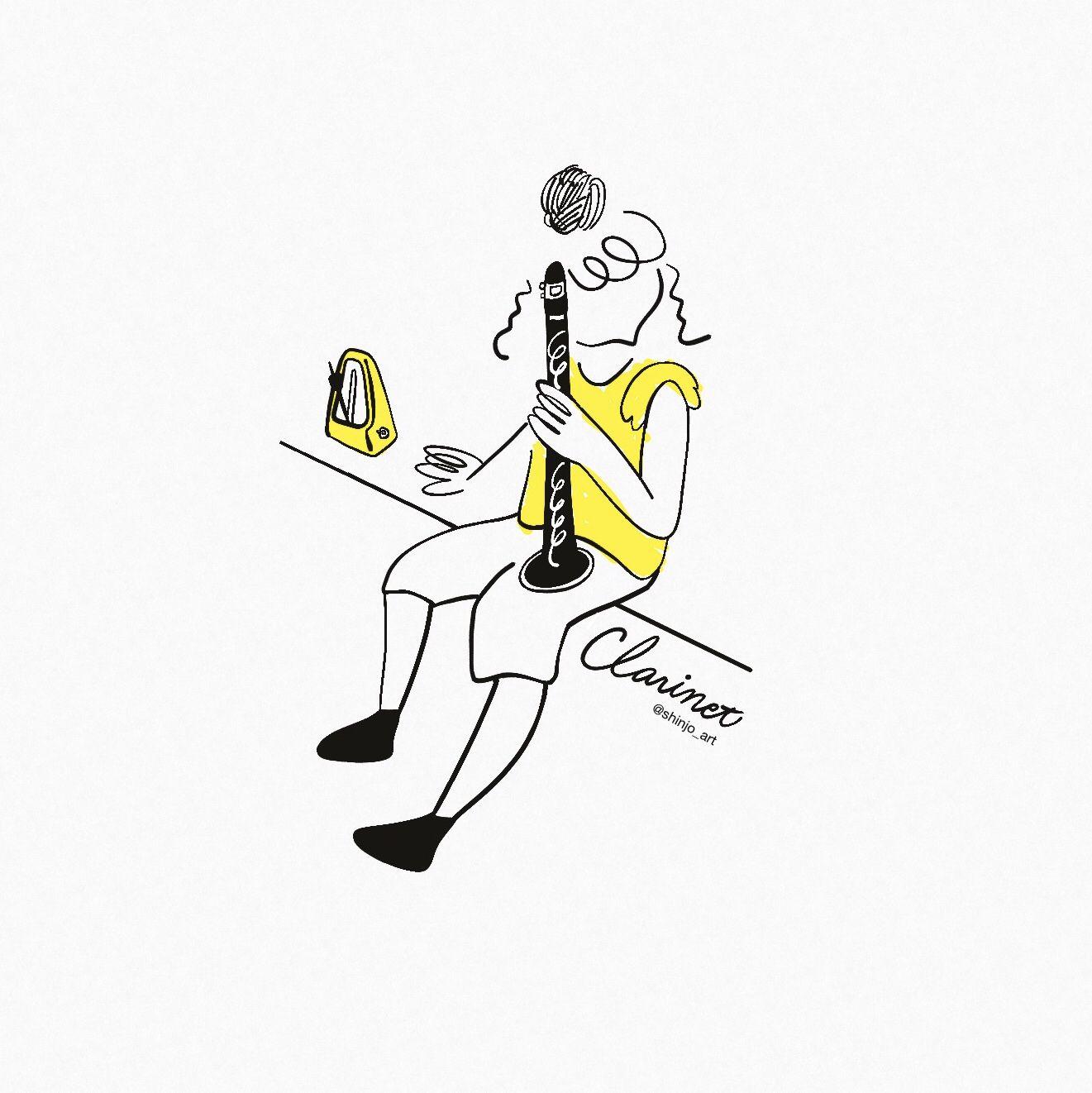 Play Clarinet 吹奏楽 イラスト 楽器 イラスト クラリネット