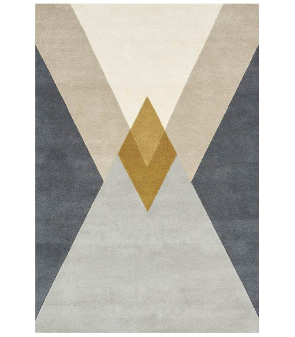 Alfombra de lana dibujo geométrico rombo Mustard | Alfombras
