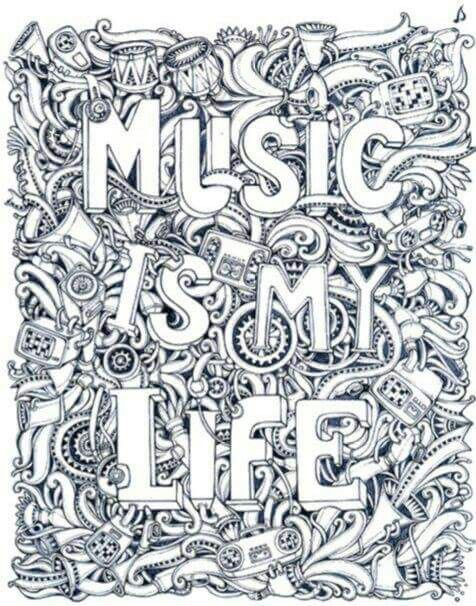 Music Is My Life Coloring Page Coloring Mandala