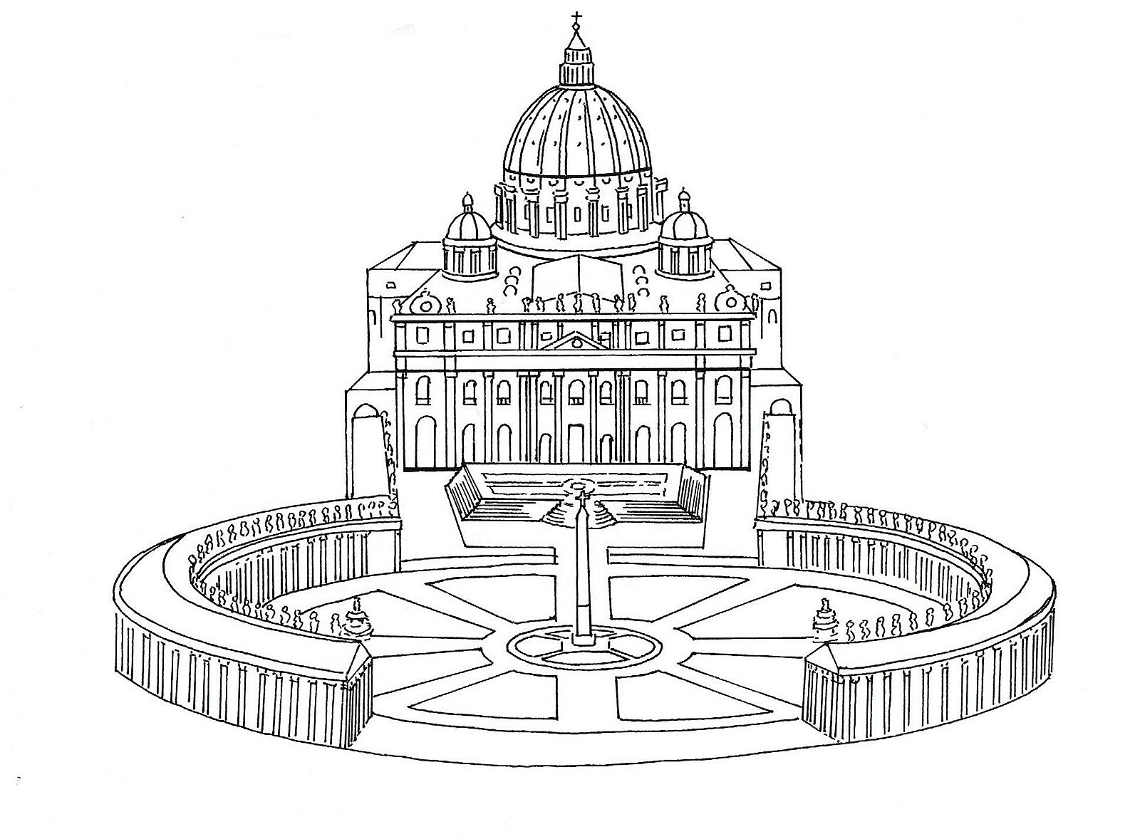 st peters the vatican in rome catholic coloring page