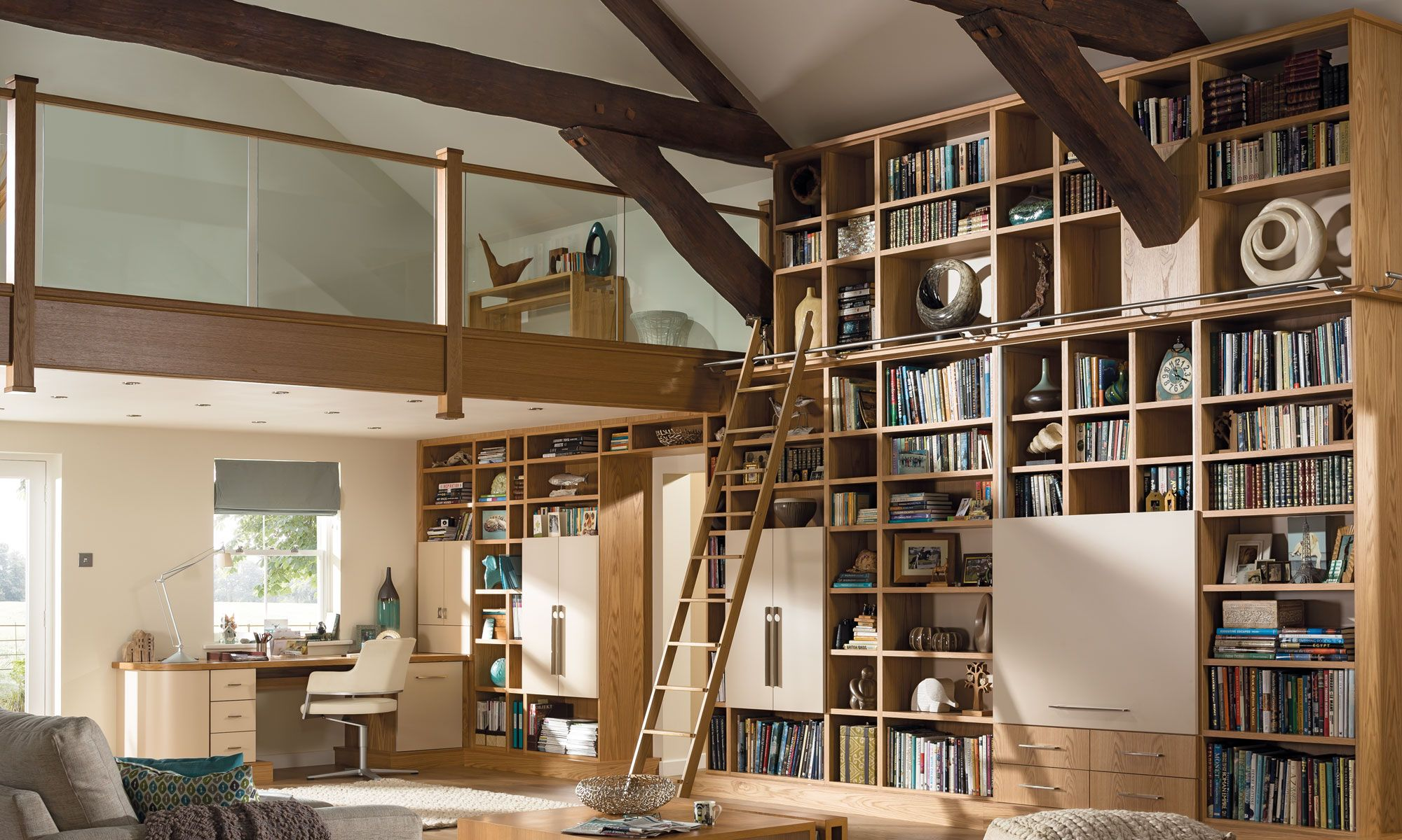 Modern Open Plan Living Space With Library, Home Cinema And