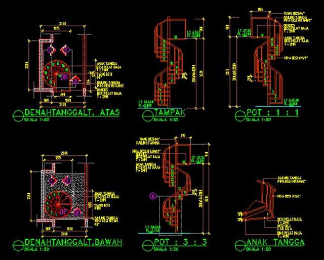 Detail Dan Potongan Tangga Putar Kayu Dan Besi File Dwg Putar Tangga Kayu Arsitektur