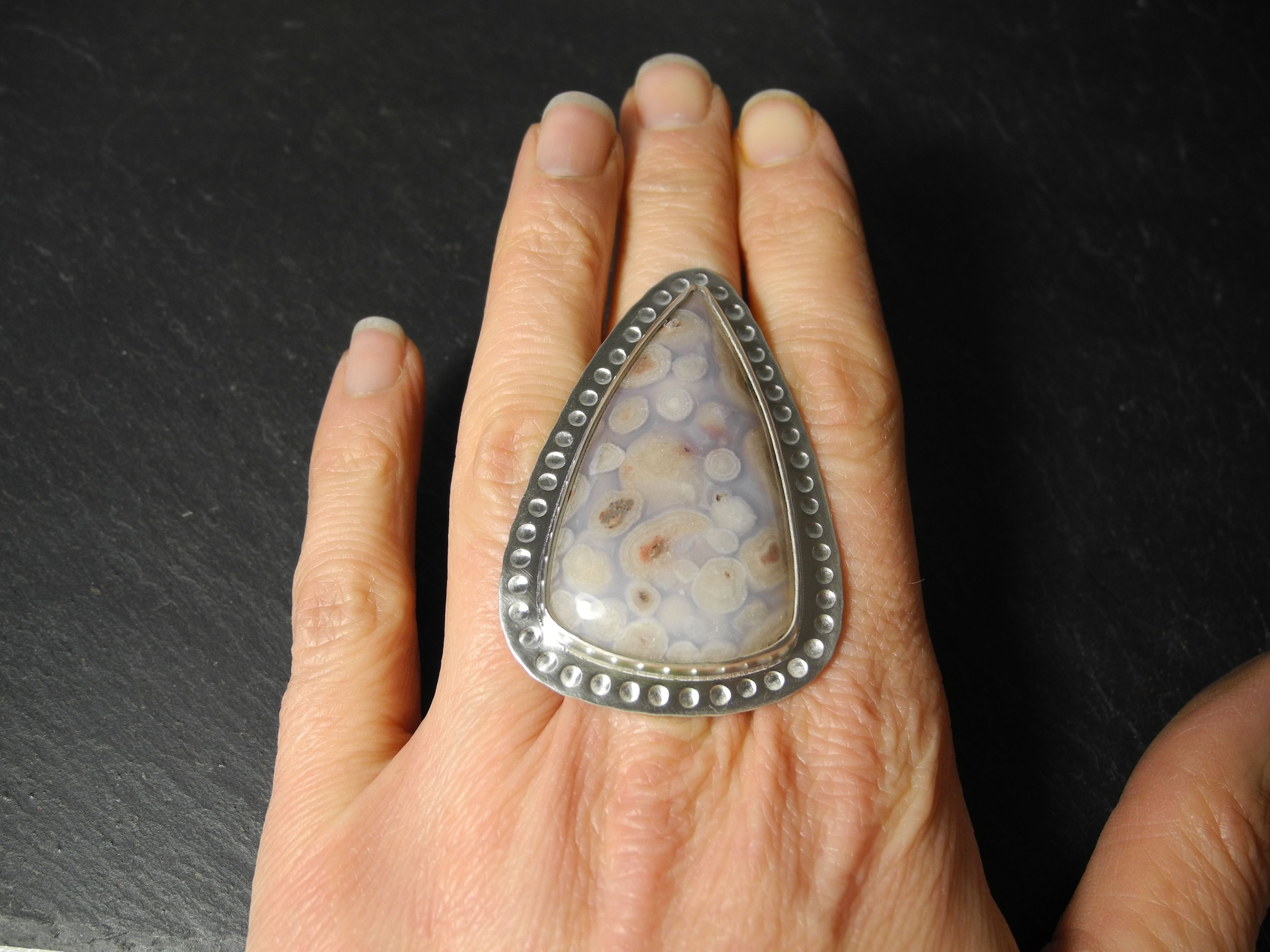 Fossilised coral cabochon ring in sterling silver #jewelry #jewellery