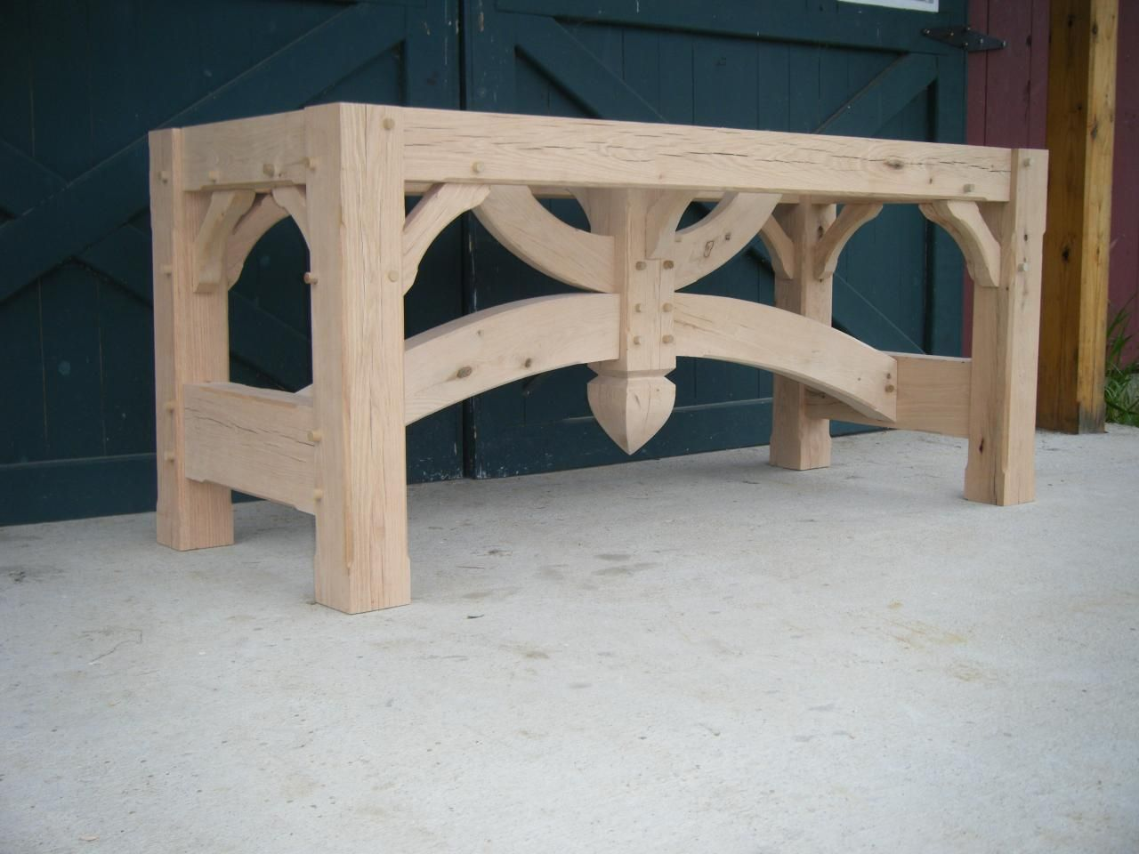 Timber Framed Harvest Table Base Use It As A Tv Console