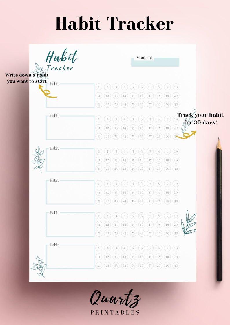Habit Tracker Printable, Monthly Habit Tracker, Goal