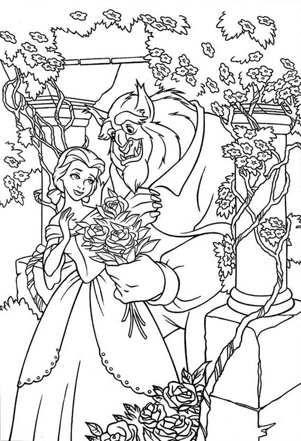 Belle And The Beast In The Rose Garden Coloring Page Download Print Online Col In 2020 Disney Princess Coloring Pages Princess Coloring Pages Disney Coloring Pages
