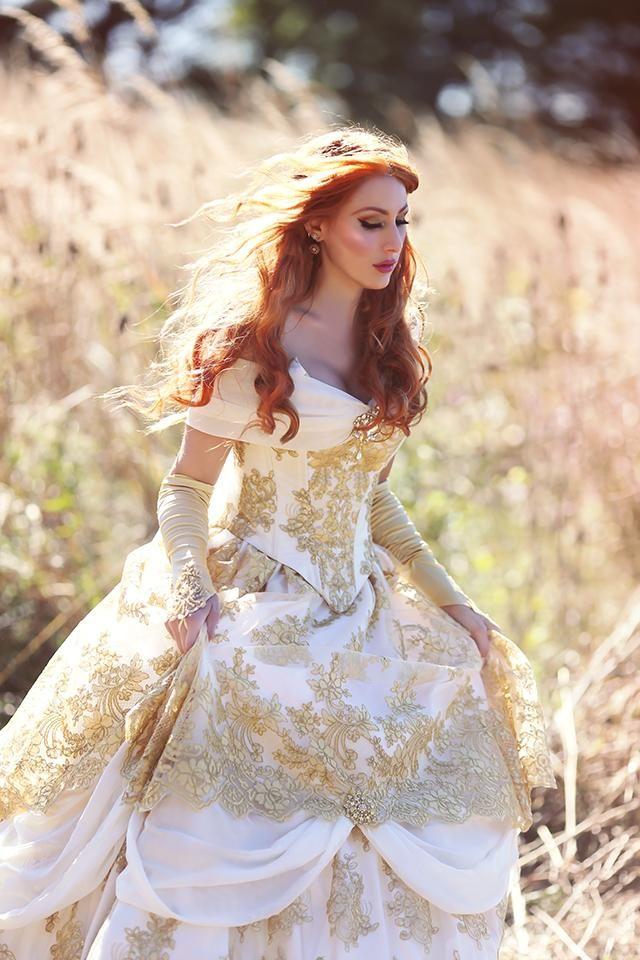 Belle Wedding Gown Ivory Gold Custom In 2020 Fantasy Gowns Gold Wedding Gowns Beauty And The Beast Wedding Dresses