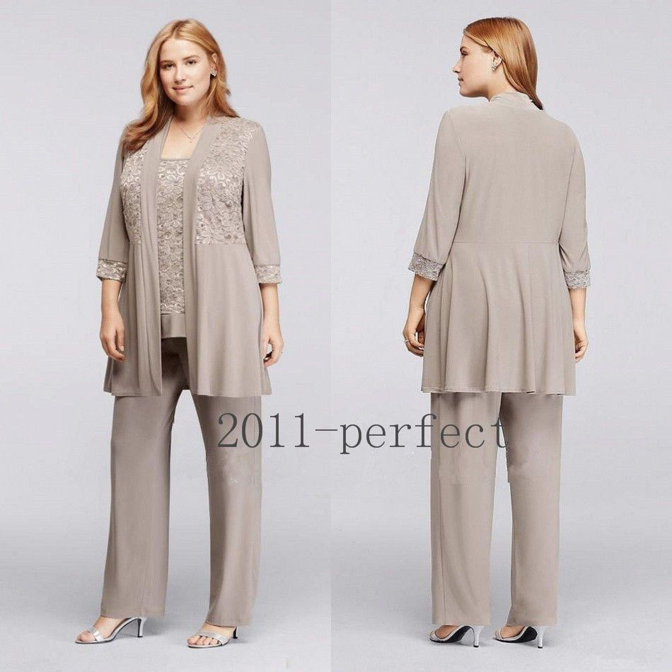 Chiffon Gray Mother of the Bride Dress Outfits Formal Women Pant ...
