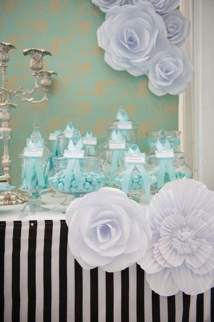 184050efc7 Candy Station from a Breakfast at Tiffany's Inspired Birthday Party via Kara's  Party Ideas | KarasPartyIdeas.com (60)