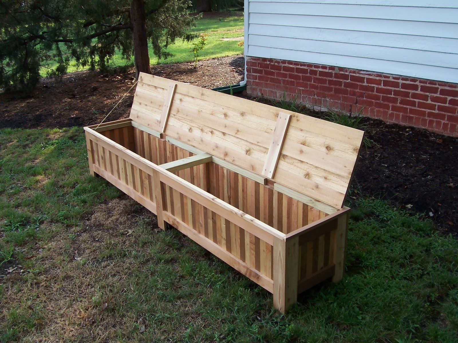 Custom Made Custom Western Red Cedar Patio Storage Bench