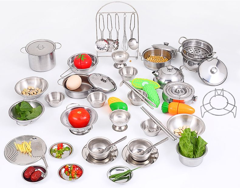 16pcs Stainless Steel Children Kitchen Toys Miniature Cooking Set