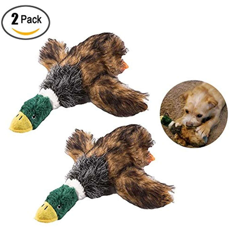 Babyrise 2 Pcs Pet Plush Puppy Dog Chew Toy Mallard Duck Dog Toy