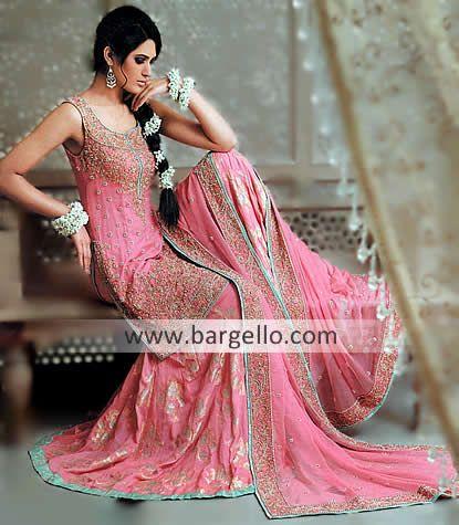 Designer Nomi Ansari Stunning Pastel Pink Blue And Silver Asian Bridal Dress