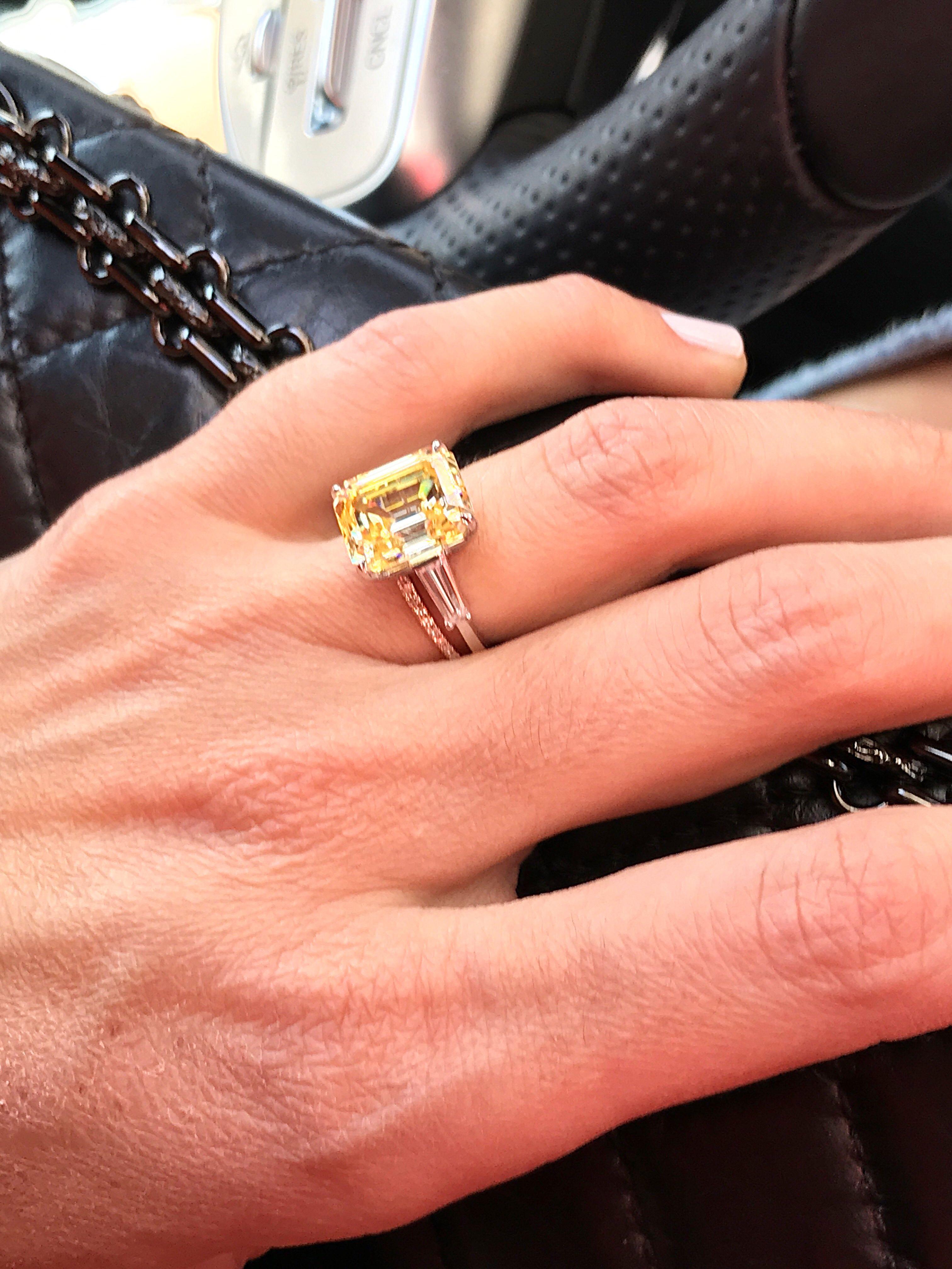 18k White Gold Fancy Yellow Diamond Engagement Ring Fancy Yellow Diamond Engagement Rings Yellow Diamond Engagement Ring Yellow Diamonds Engagement