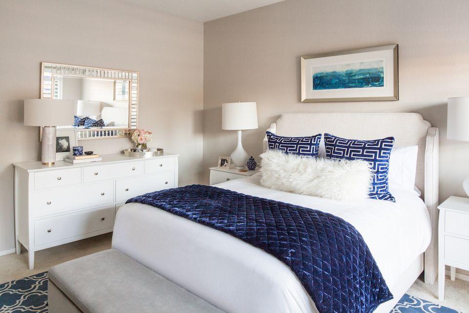 Blue And White Modern Glam Bedroom Glam Bedroom Interior Design Concepts Interior Design
