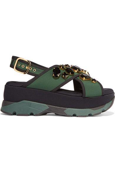 Marni Embellished neoprene and leather platform sandals