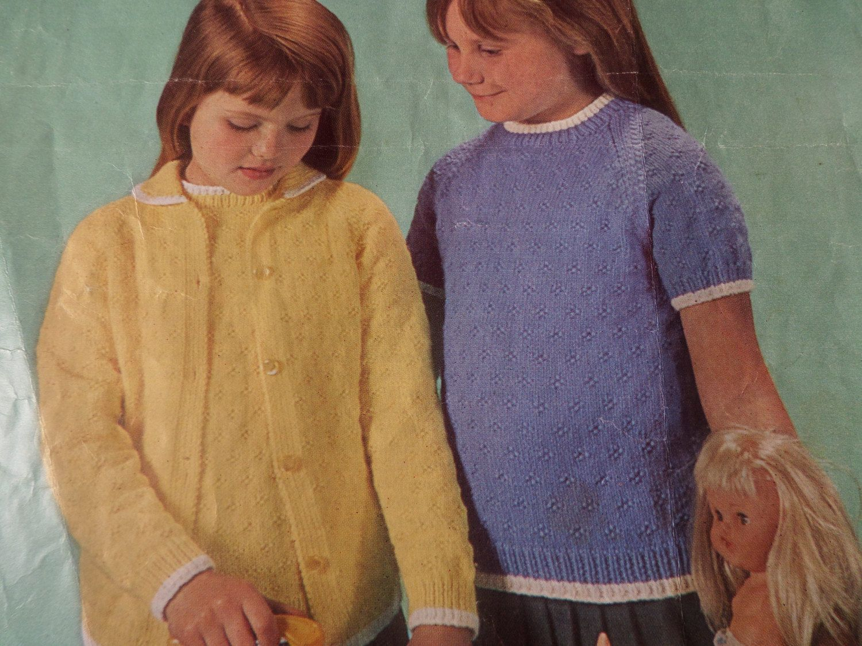 Knitting pattern children baby girl twin set cardigan and top 4 knitting pattern children baby girl twin set cardigan and top 4 ply dk 22 28 bankloansurffo Images