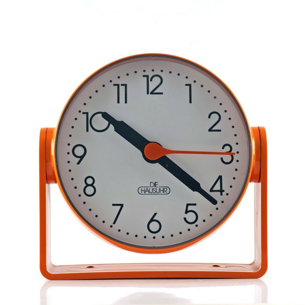 Vintage Retro 1970s German Pop Art Panton Era Orange Plastic Desk Or Wall Clock Clock Wall Clock Pop Art