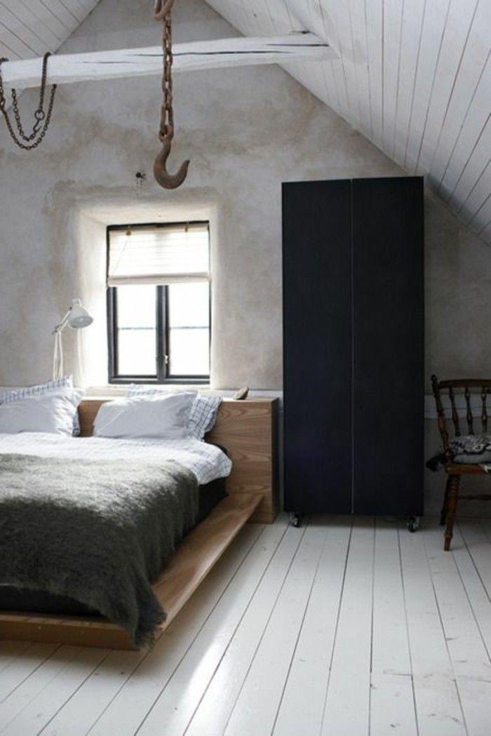 Bodenbelag Schlafzimmer wandgestaltung ideen schlafzimmer betonwände schwarzer