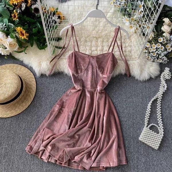Elegant Vintage Gothic Spaghetti Strap Dress Early Fall Basic Women Short Party Dresses Slim High Waist Mini Dress – nice