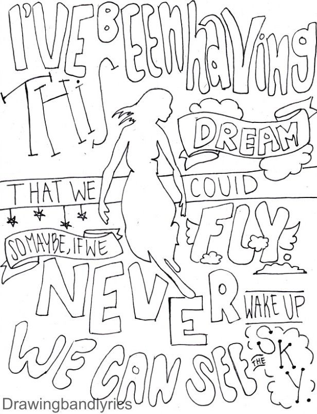 I Draw Band Lyrics Quote Coloring Pages Coloring Pages Inspirational Coloring Pages
