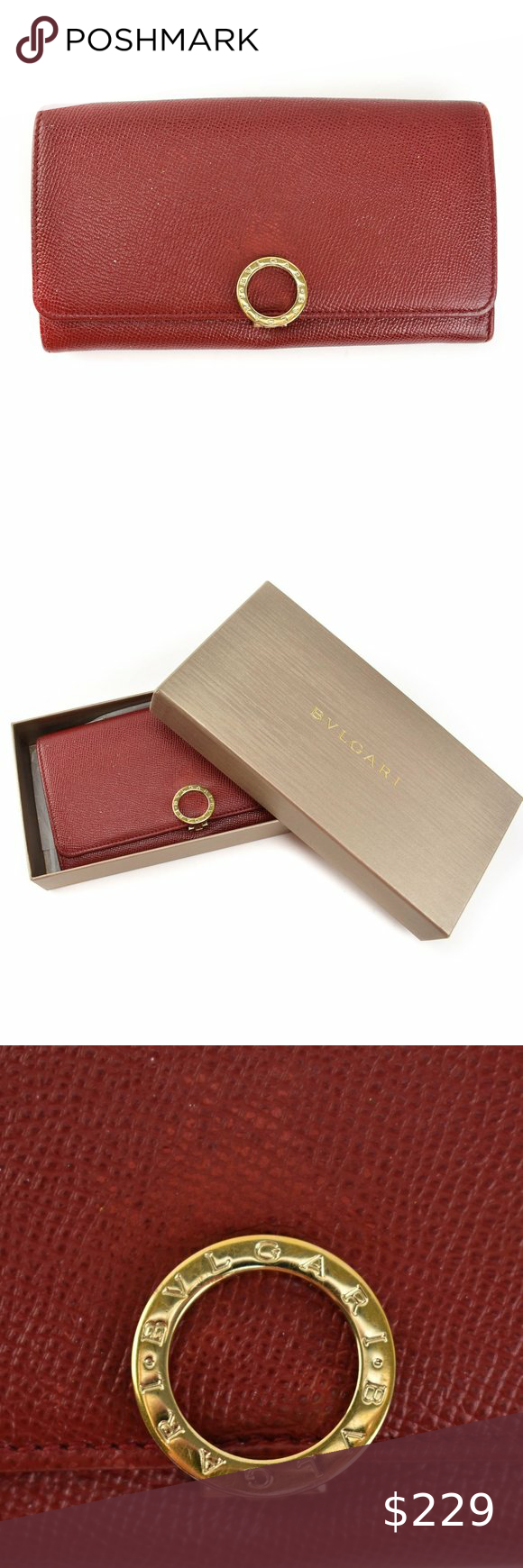 BVLGARI Red, Leather & Gold Logo Long Wallet (mn) in 2020