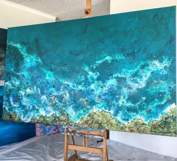 Energetic Large Scale Paintings Of Splashing Ocean Waves