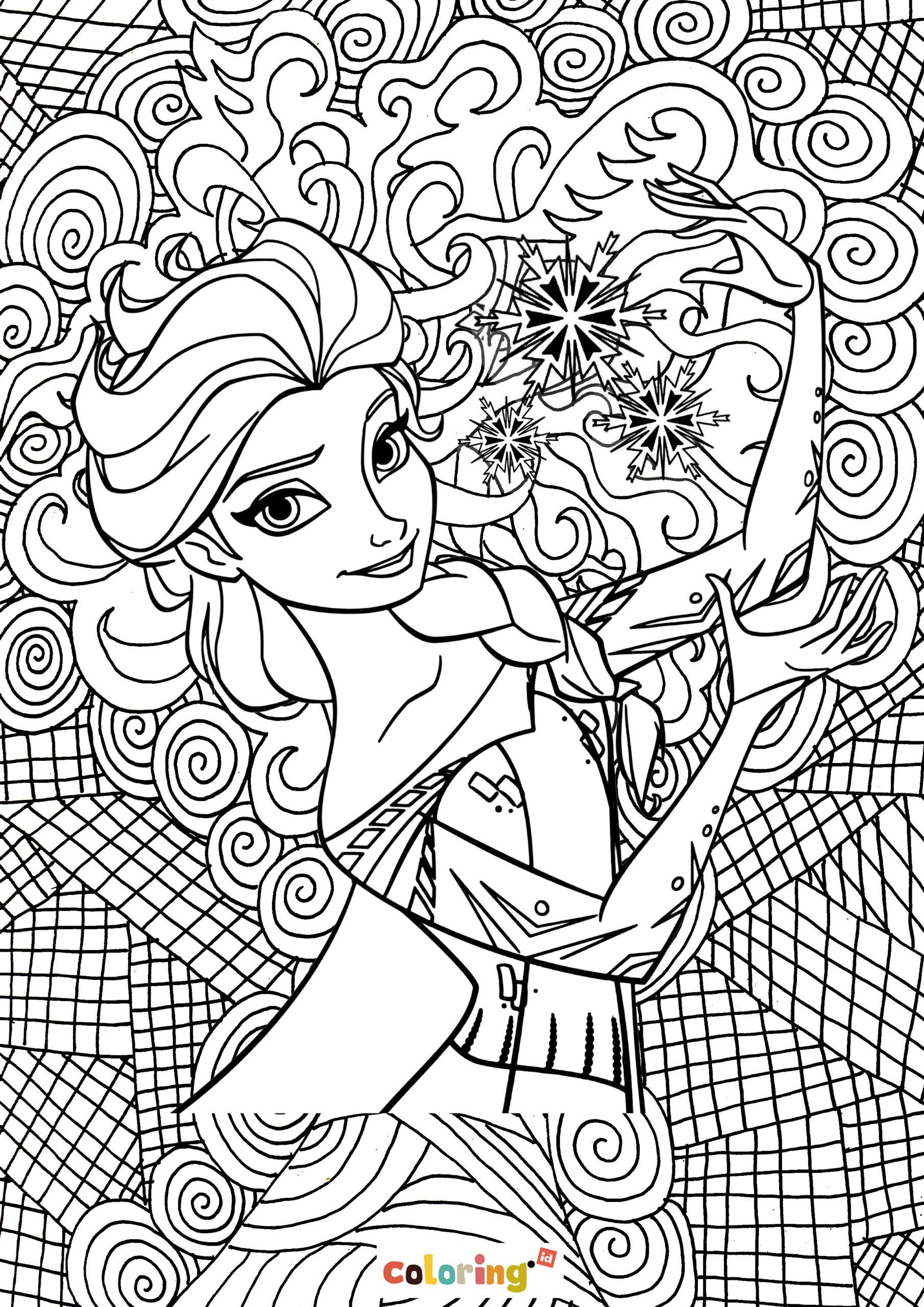 Disney Princess Frozen Mandala Coloring Page Free Rapiditas [ 2560 x 1810 Pixel ]