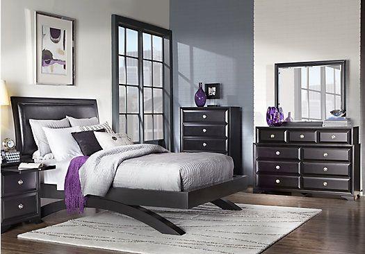 Belcourt Black 5 Pc Queen Platform Bedroom | Bedroom | Black bedroom ...
