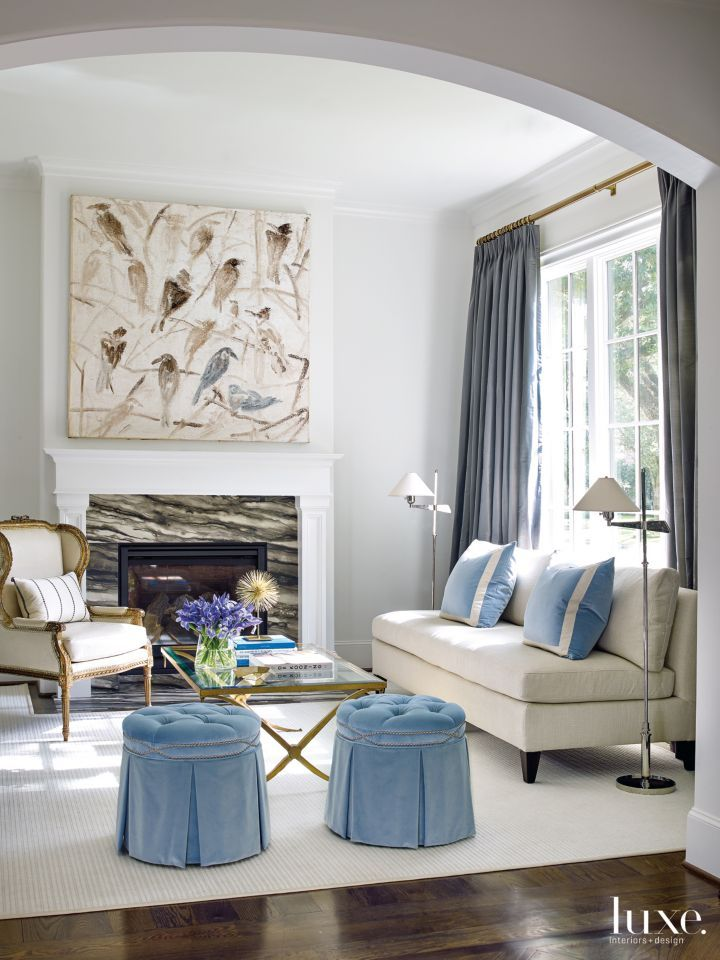 Transitional Interior Design Living Room: Ashley Goforth Design Hunt Slonem Art Antique Wing Chair