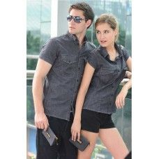 Woven Organic Cotton Short Sleeves Shirt (enzyme stone washed)
