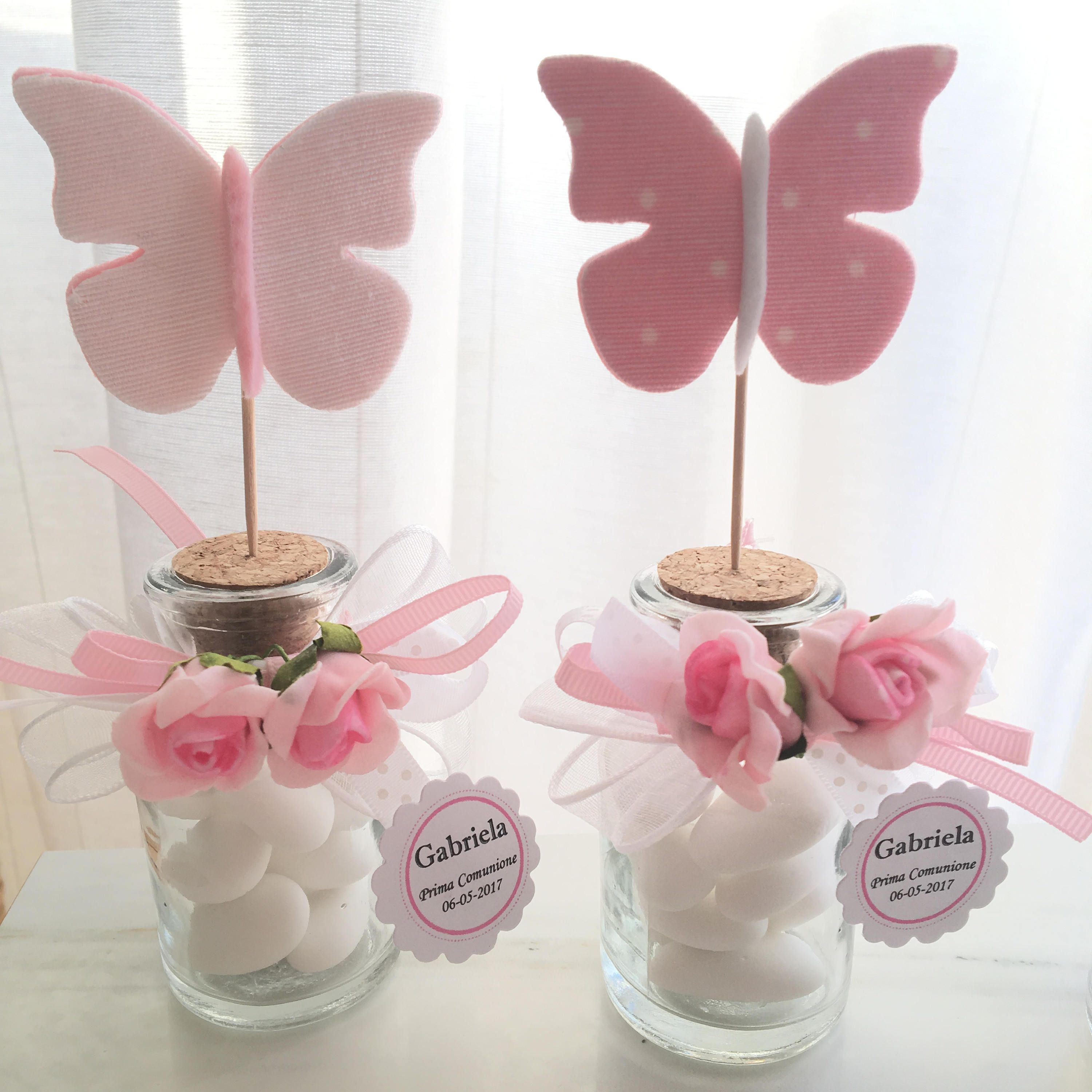 Personalized Favor For Girl S Communion Jar With Stopper And Felt And Fabric Butterfly Assorted Colors In Pink And White And Beige Shades Bomboniere Bomboniere Per Bambini Festa A Tema Farfalla