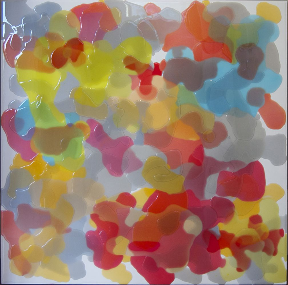 "Epoxy resin art on wood panel by Kenneth Sloan.  36"" X 36"" X 2"""