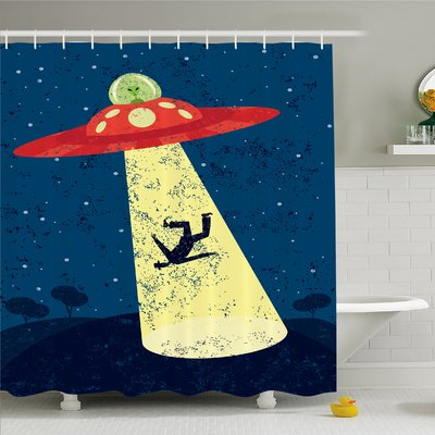 Ambesonne Outer Space Alien Abduction Of Human Science Fiction Image Shower Curtain Set Size 75 H X 69 W 1 D