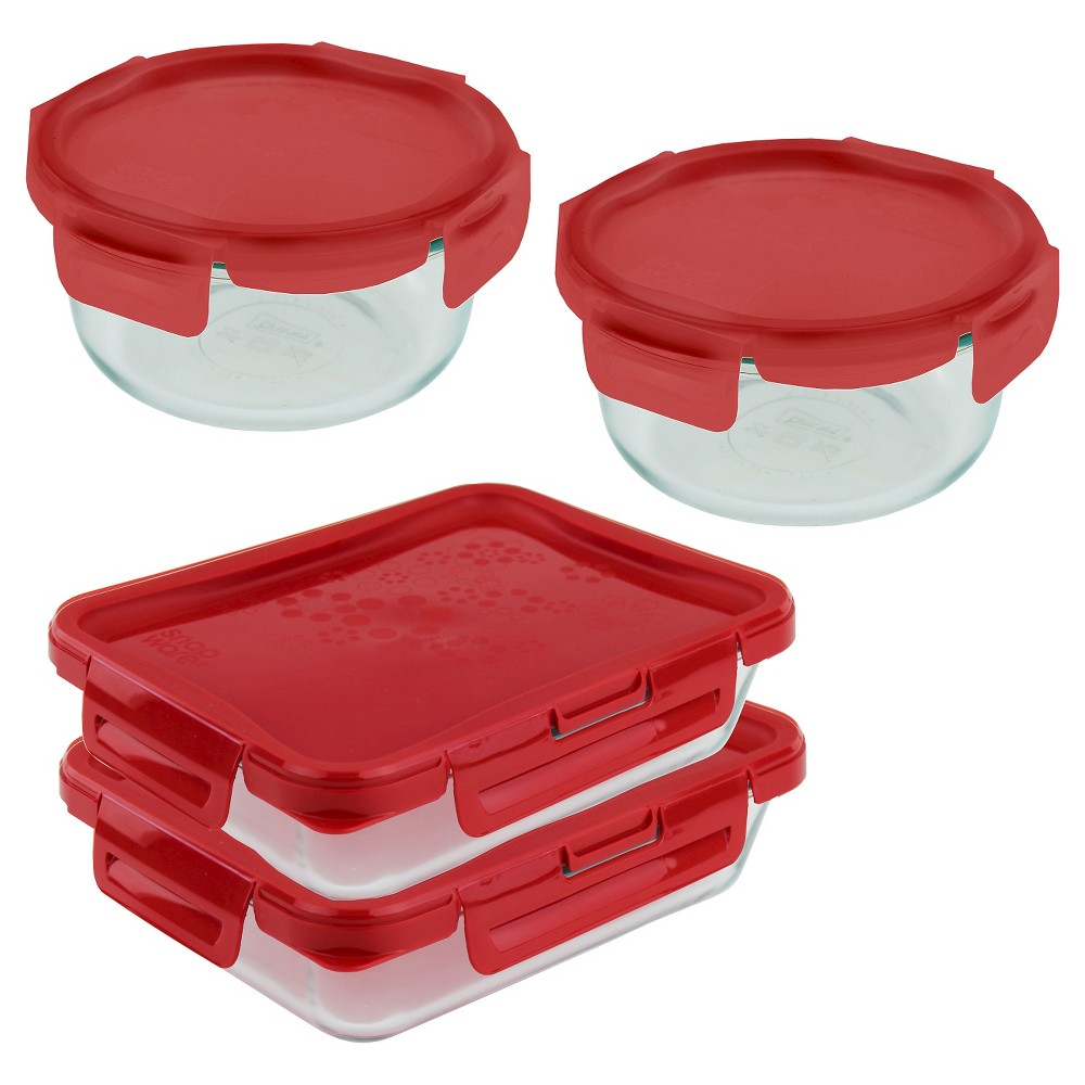 Pyrex 1 Cup 8 Piece 4 Lock Premium Storage Set Glass Containers With Lids Pyrex Storage Sets