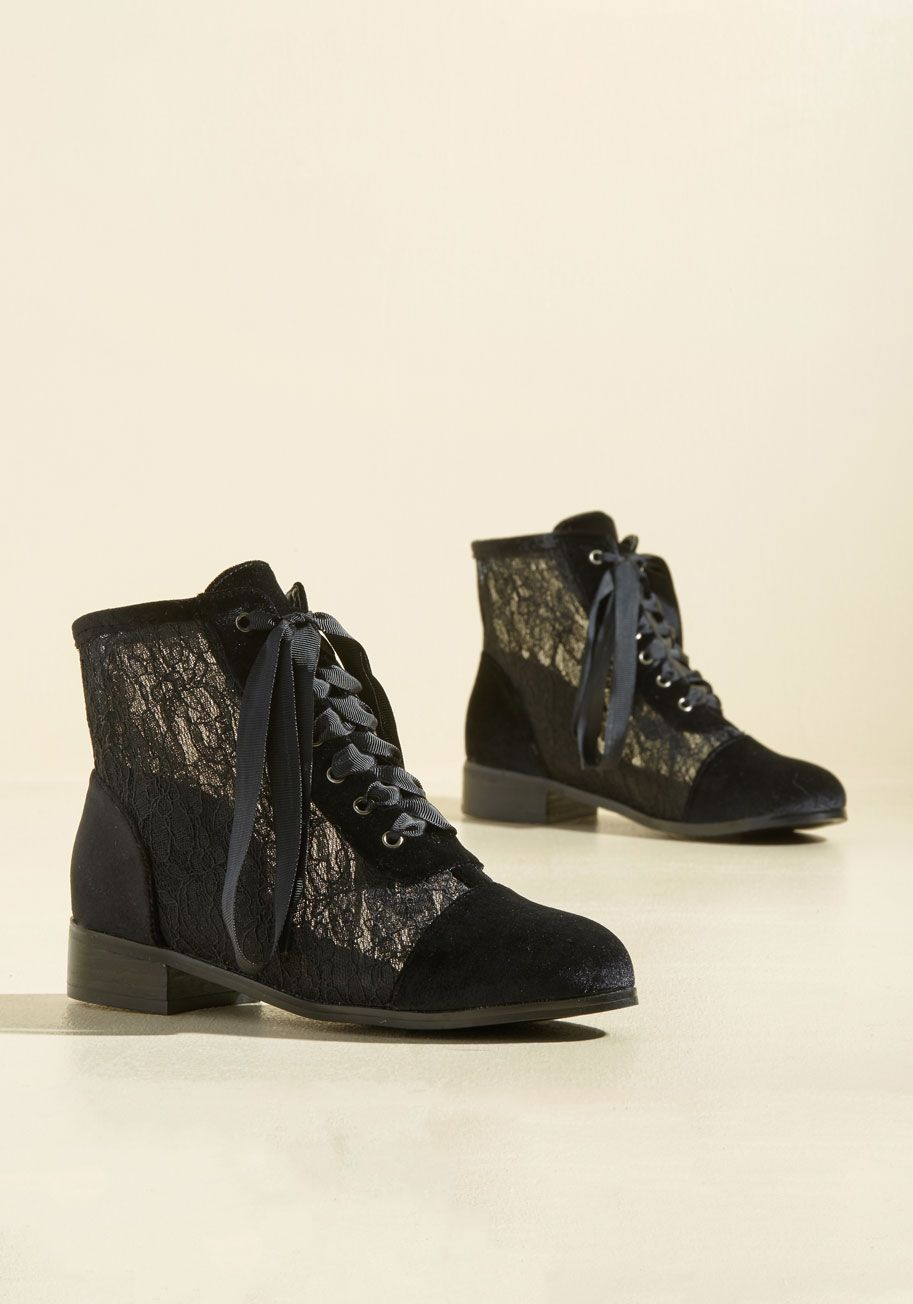 3ce550d87d Lace Get Together Velvet Boot. Hosting a gathering to debut these black lace  boots may seem silly to some