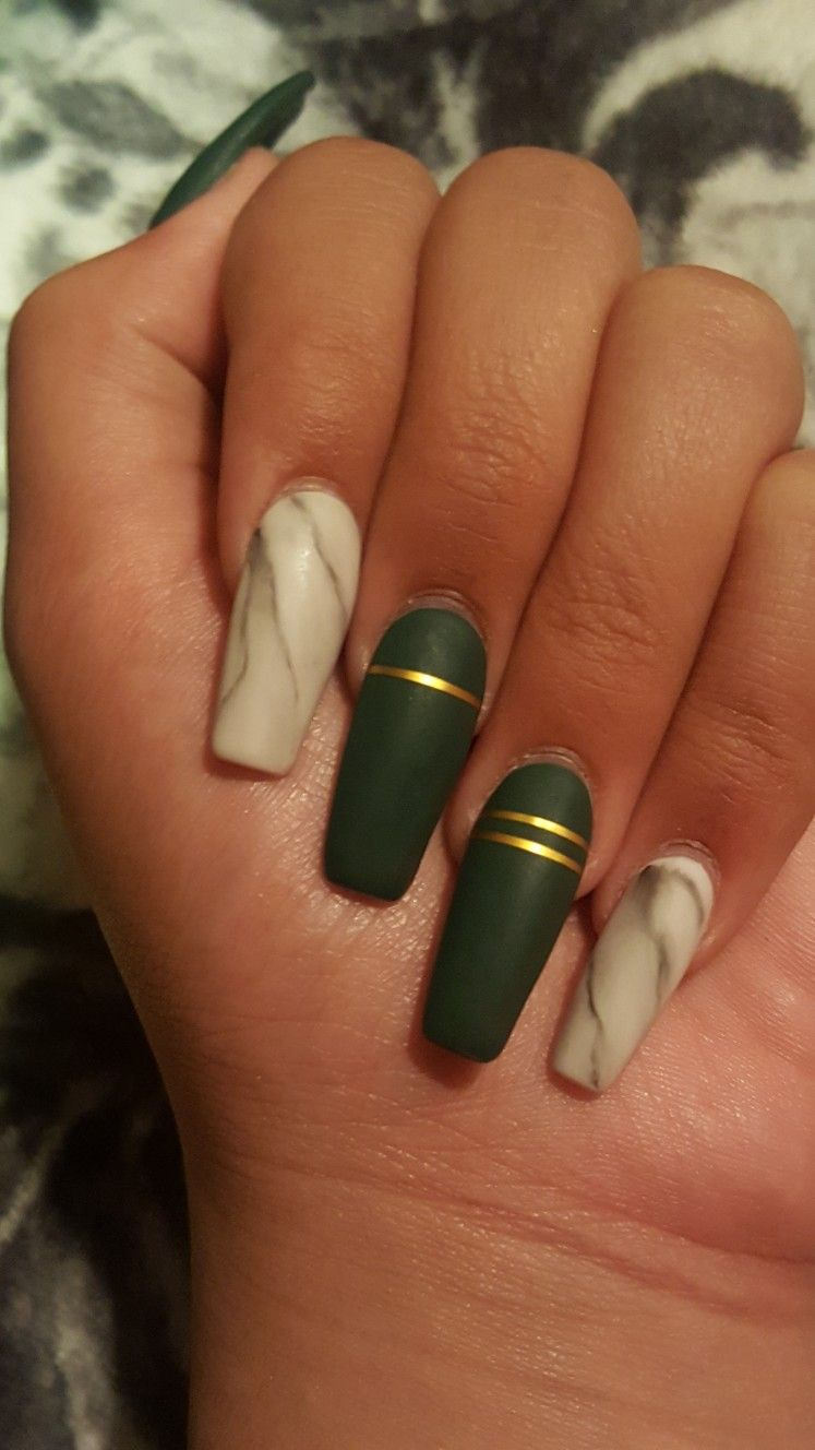 New Design Matte Green And Marble Nails Green Acrylic Nails Almond Acrylic Nails Designs Almond Acrylic Nails