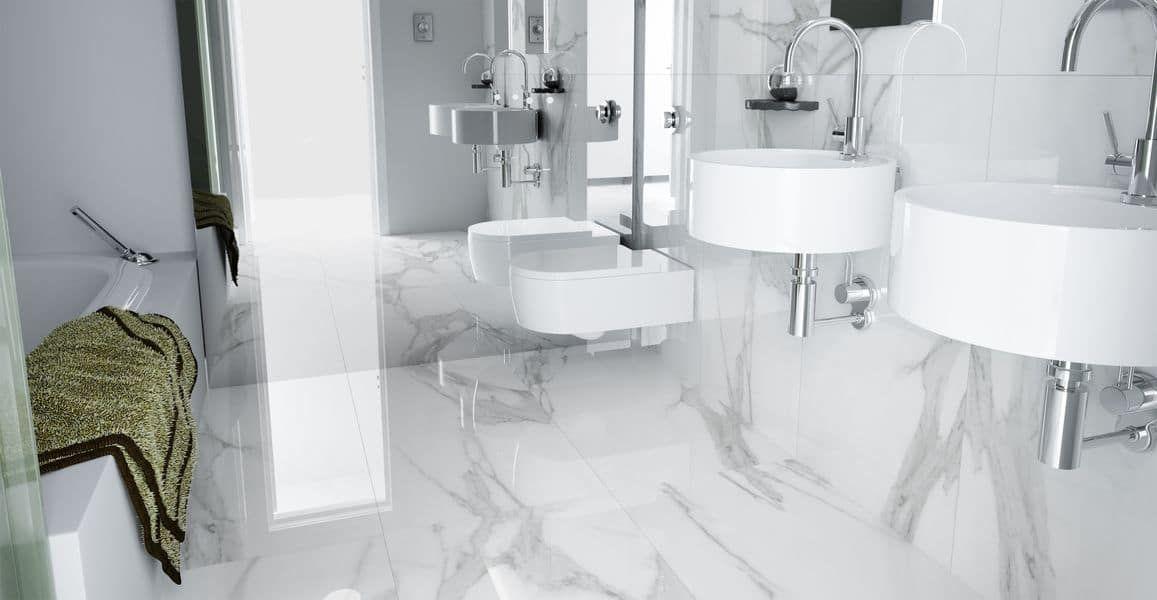 Płytki Imitujące Marmur W łazience Carrara Płytki