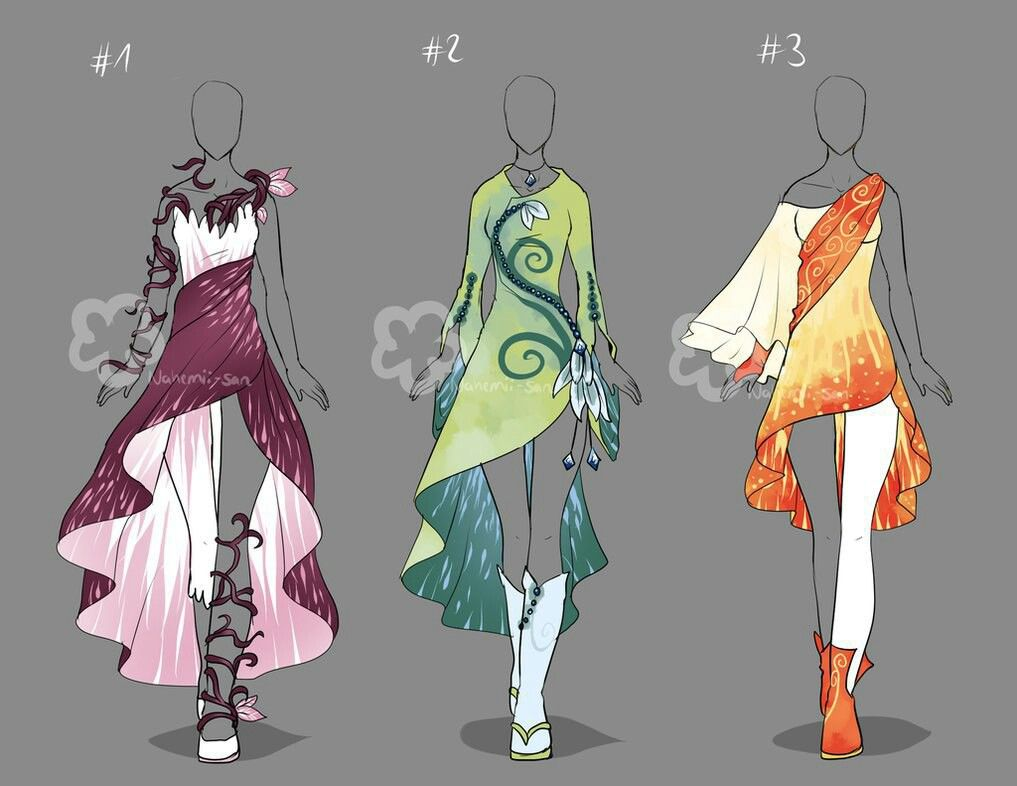 Elemental-based dresses.   Beauty in 2019   Anime outfits ...