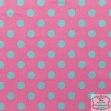 ℳ Riley Blake 100% Cotton Designer Print-C430-08-1 Medium Dots Hot pink Aqua 45 Inch