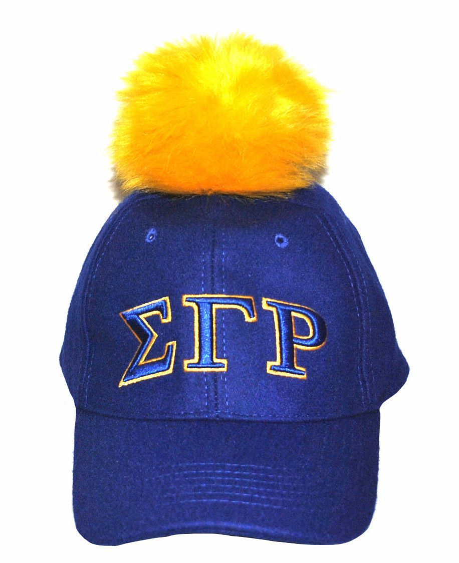 Had to top it off with a Gold pom pom. Our new Sigma Gamma Rho Pom Pom adjustable baseball cap.