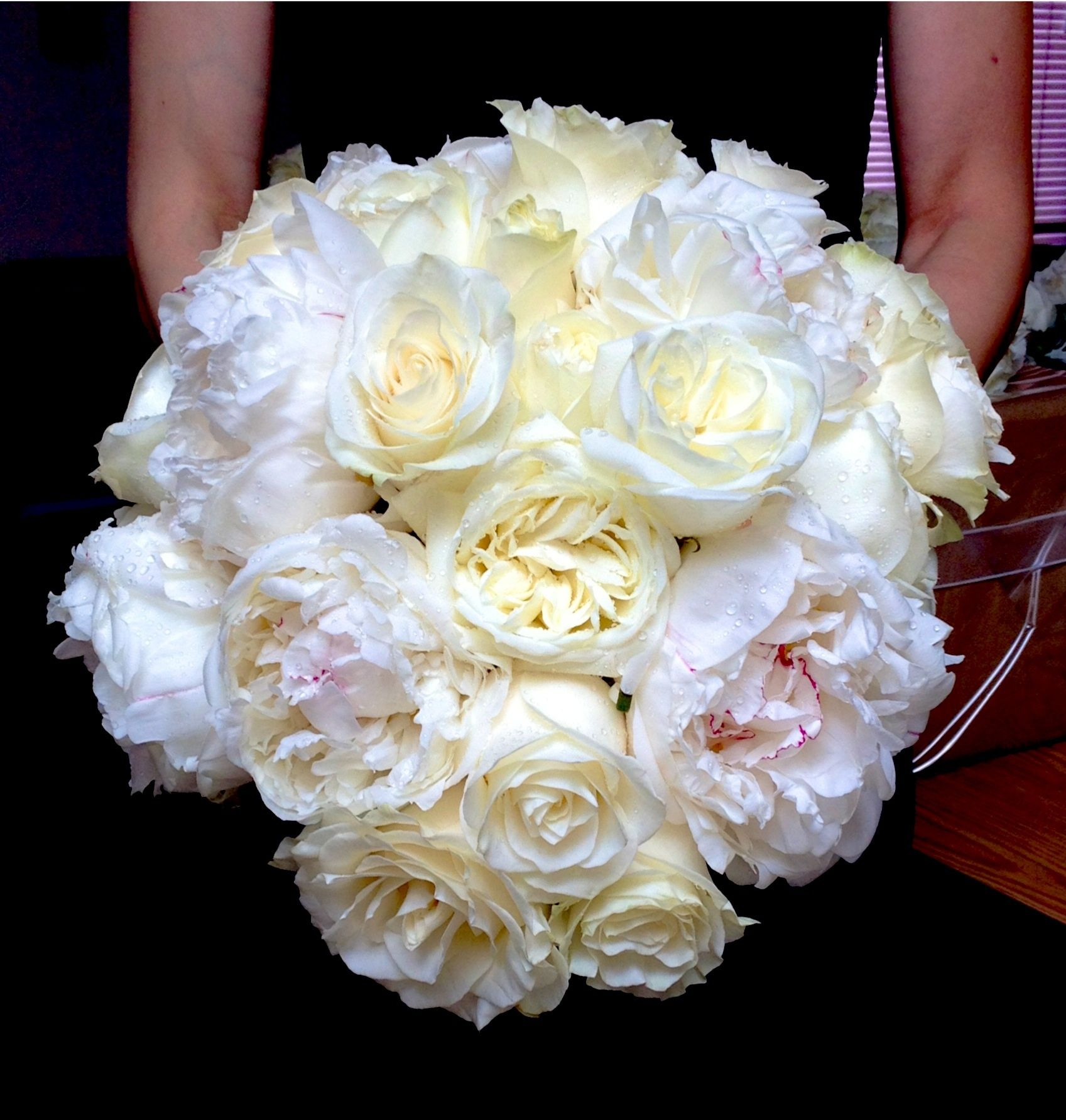 Flowers by shirley garden rose bouquets - Gorgeous Bridal Bouquet Of White Peonies Polo Roses Mondial Roses