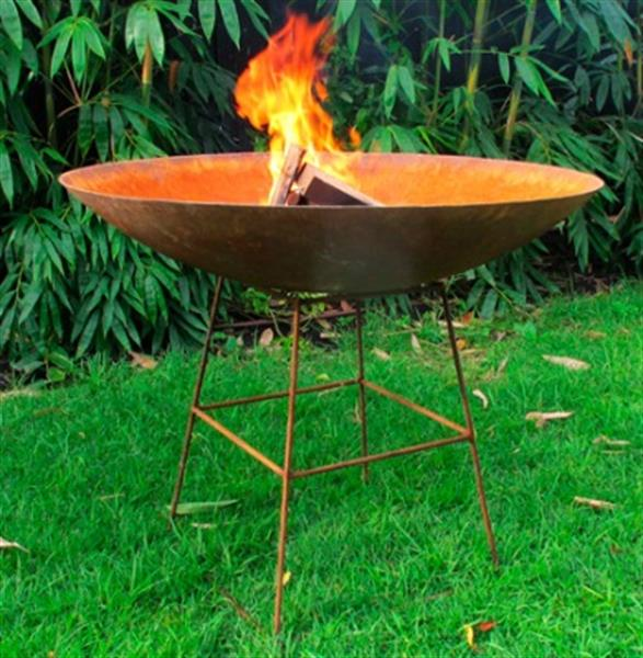 Square Steel Stand Fire Pit Area Outdoor Gardens