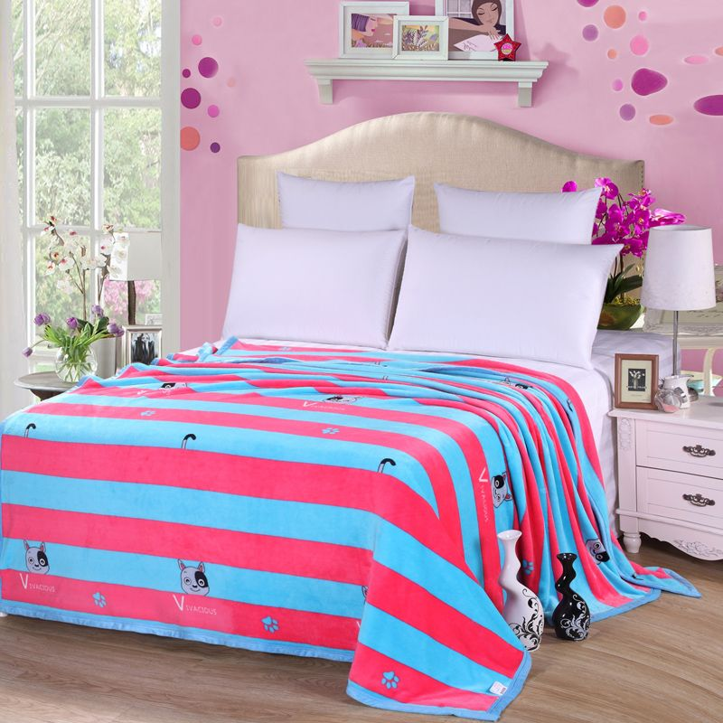 Colorful Throw Blankets Mesmerizing Colorful Stripes Fleece Blanket On The Bed121518 Queen King Inspiration
