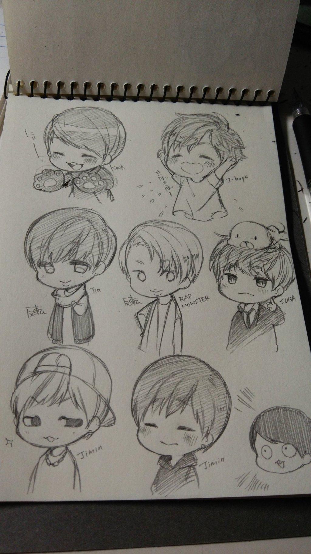 Bts Chibi Bts Drawings Kpop Drawings Sketches
